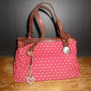 Brighton Canvas Small Satchel Tote Handbag w/Fob